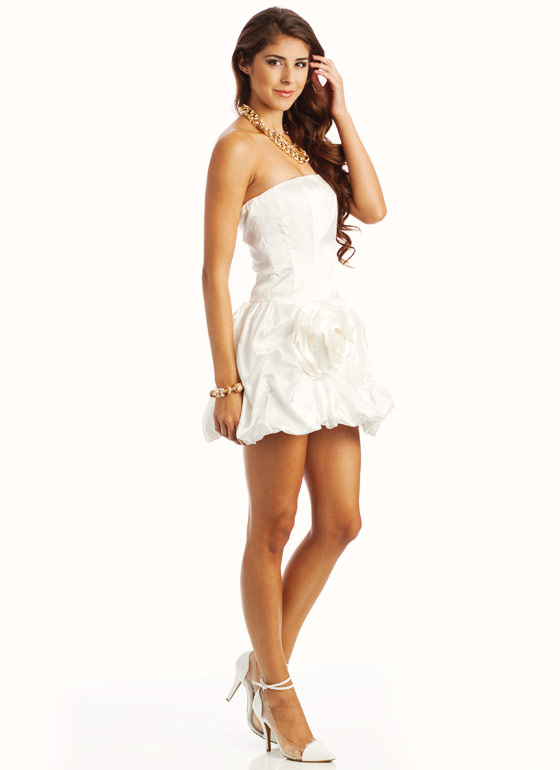 Strapless Rosette Side Cocktail Formal OFFWHT