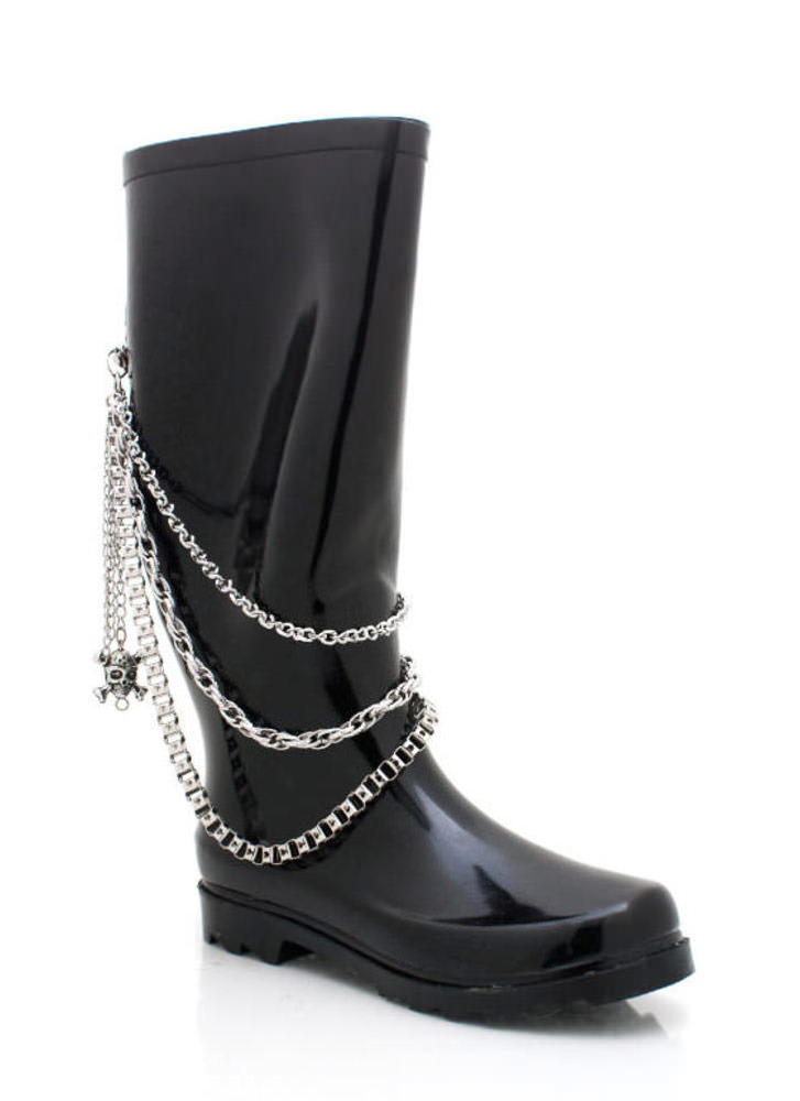 Draped Chain Rain Boot BLACK