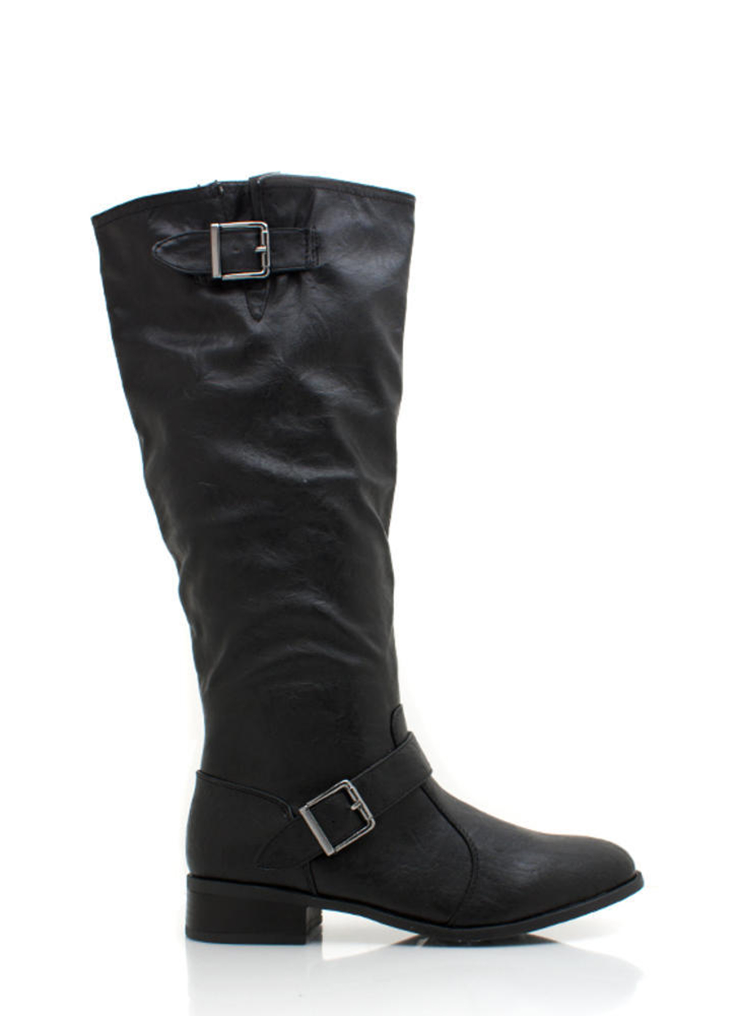 Buckle Strap Riding Boot BLACK