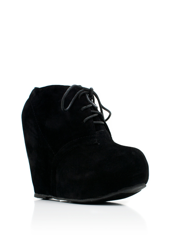 Lace-Up Bootie Wedge BLACK