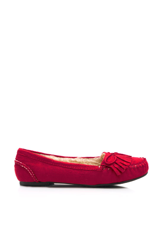Fringed Suede Moccasin Flat RED