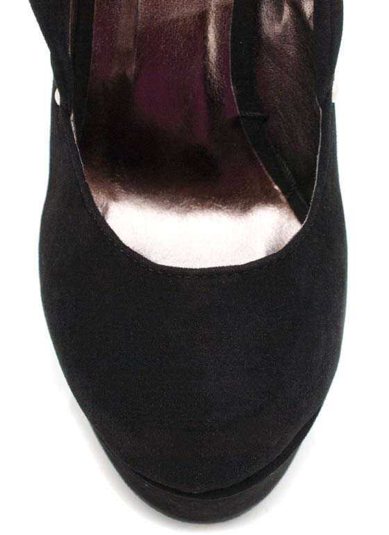 Velvet Finish Stud Trim Wedge BLACK