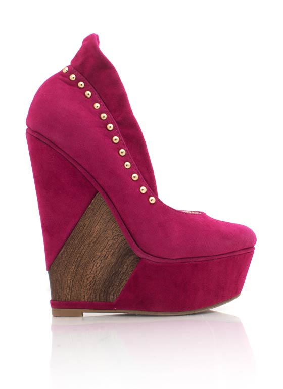 Velvet Finish Stud Trim Wedge FUCH