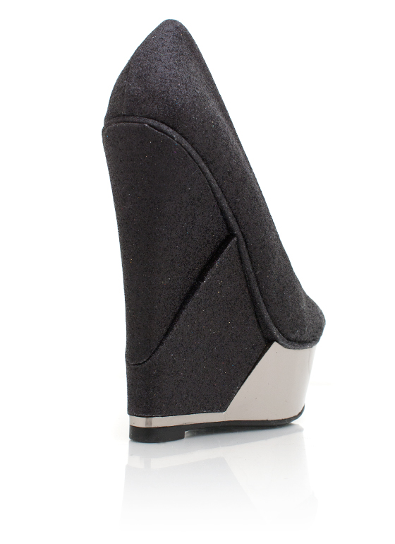 Metallic Trim Glitter Wedge BLACK