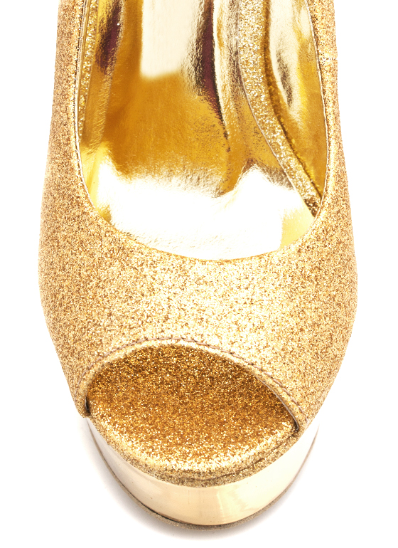 Metallic Trim Glitter Wedge GOLD