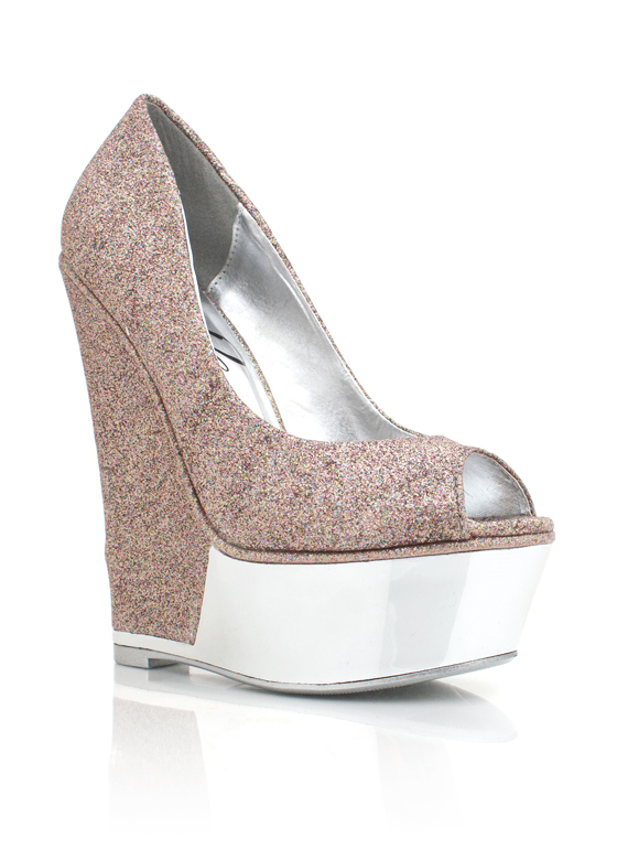 Metallic Trim Glitter Wedge MULTI