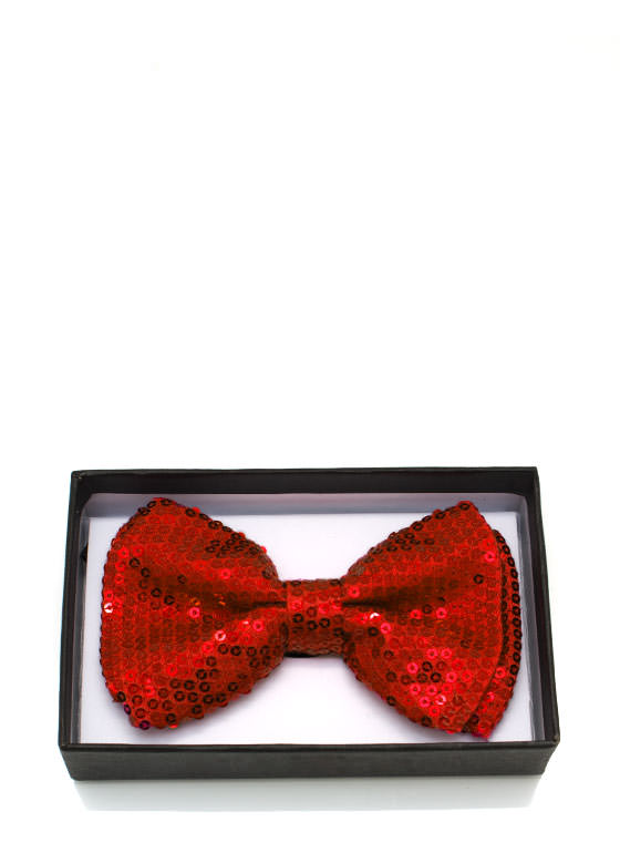 Sequined Bowtie RED