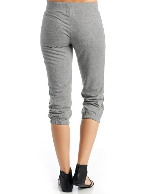 Drawstring Capri Sweatpants GREY