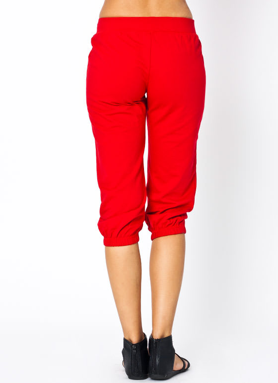 Drawstring Capri Sweatpants RED