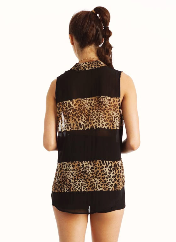 Sheer Leopard Tank BLACKBROWN