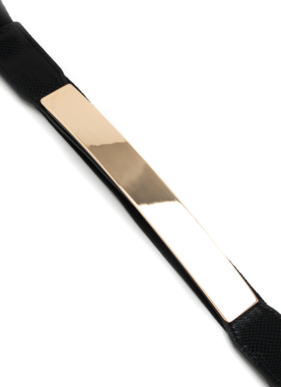 Metallic Rectangle Stretch Belt BLACKGOLD