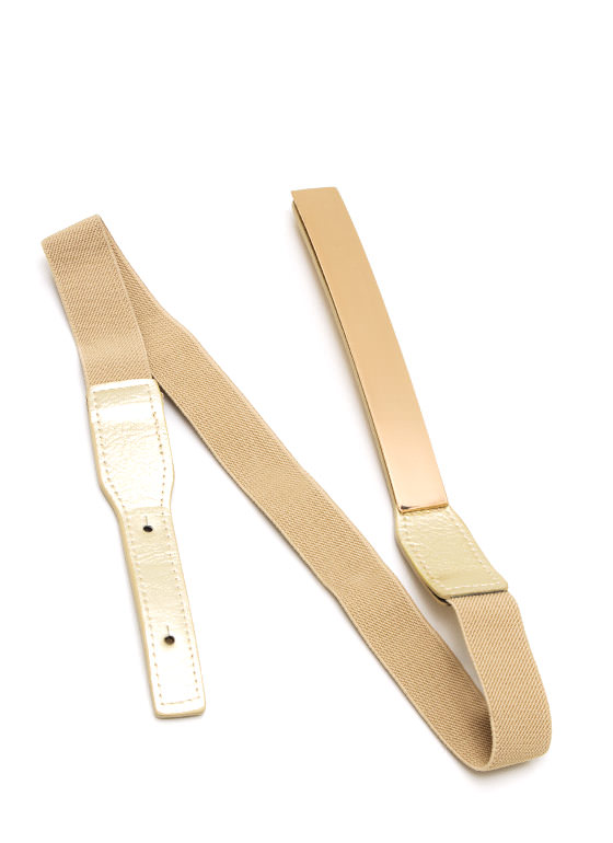 Metallic Rectangle Stretch Belt GOLD
