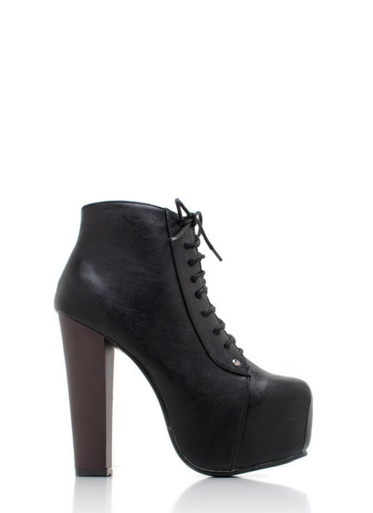 Lace Up Leather Platform BLACK