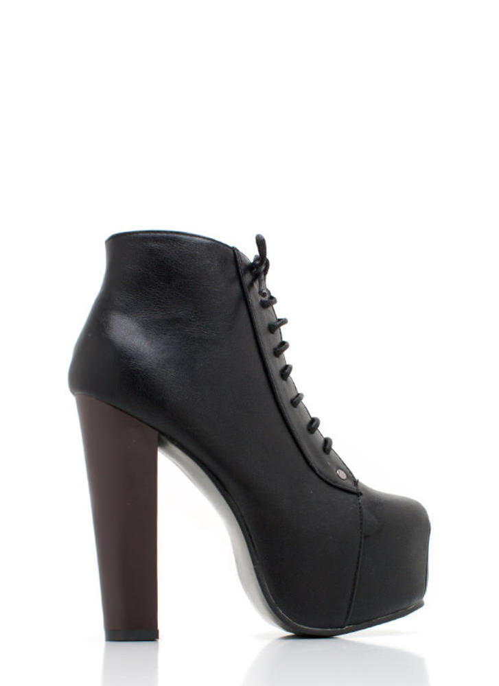 Lace-Up Faux Leather Platform BLACK