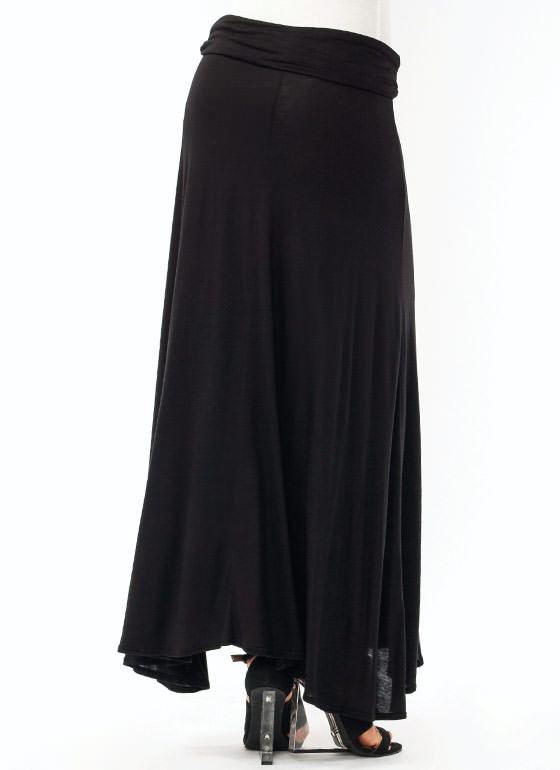 Folded Maxi Skirt BLACK