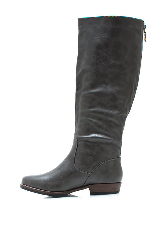 Leather Riding Boots GREY