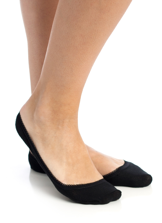 Scalloped Trim Footie Socks BLACK