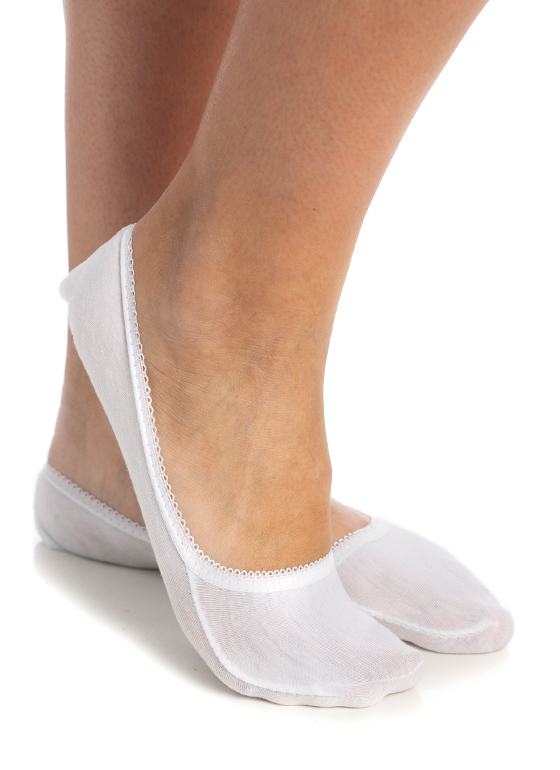 Scalloped Trim Footie Socks WHITE