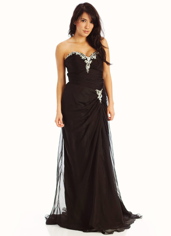 Strapless Embellished Sweetheart Formal-BLACK