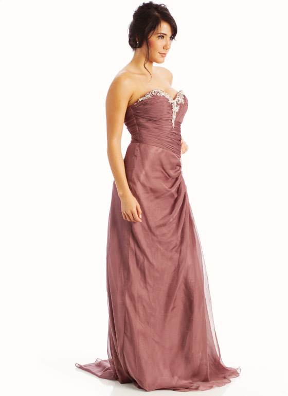 Strapless Embellished Sweetheart Formal-LTBROWN