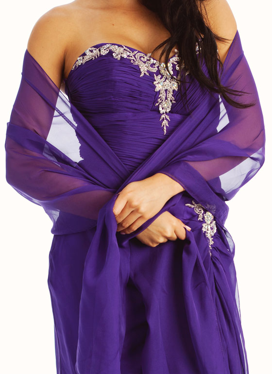 Strapless Embellished Sweetheart Formal-PURPLE