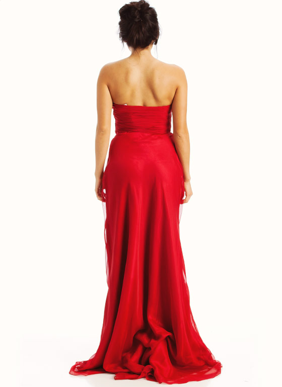 Strapless Embellished Sweetheart Formal-RED