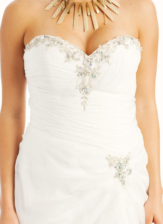 Strapless Embellished Sweetheart Formal-WHITE