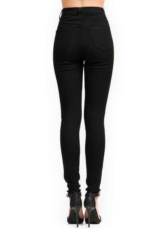 High-Waisted Skinny Jeans BLACK