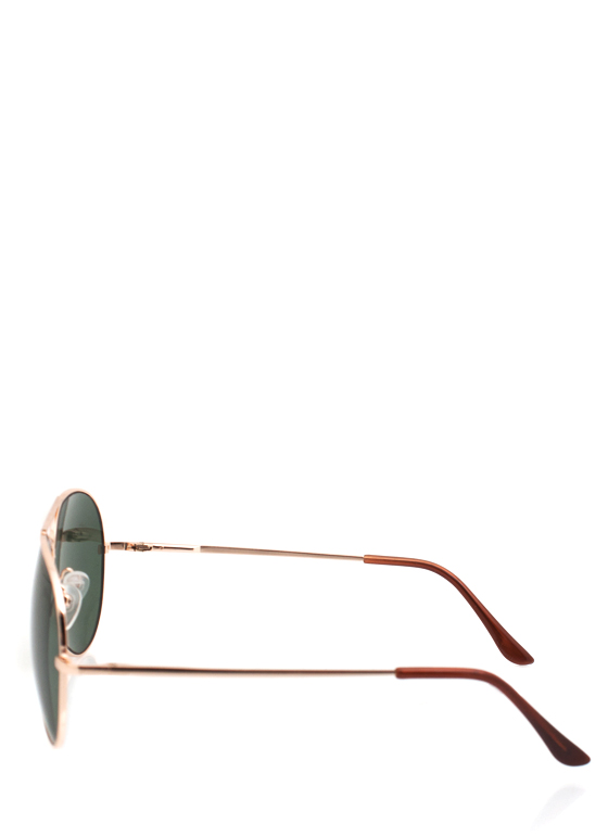 Wire Frame Aviator Sunglasses GOLDGREEN