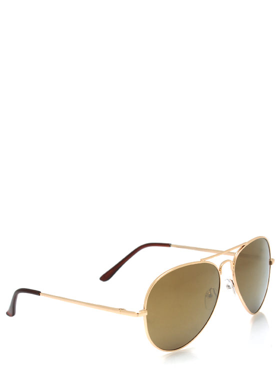Wire Frame Aviator Sunglasses GOLDTAUPE