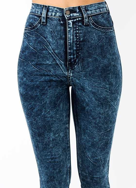 High-Waisted Acid Wash Jeans NAVY