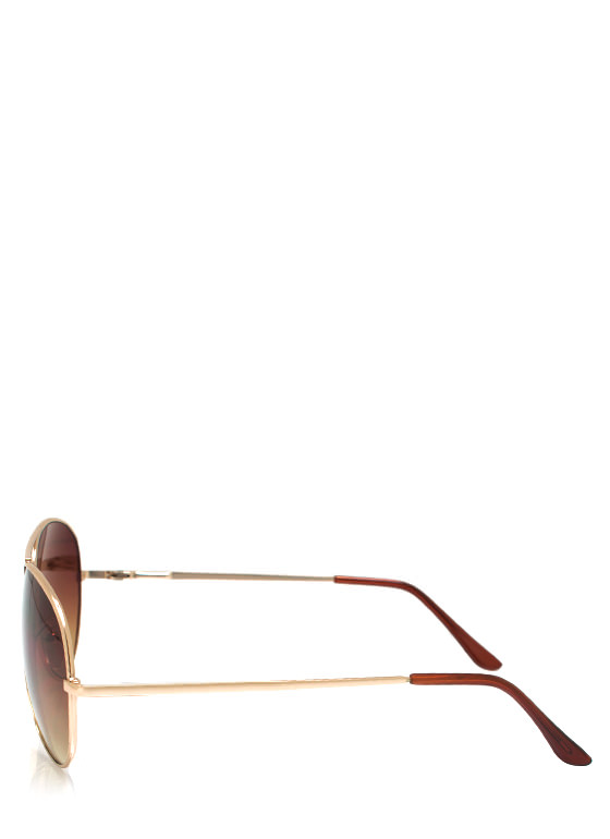 Wire Frame Aviator Sunglasses GOLDBROWN