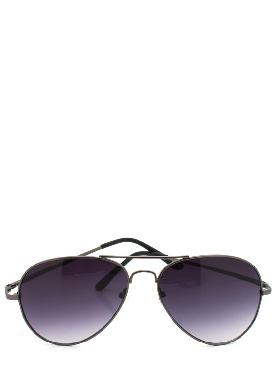 Wire Frame Aviator Sunglasses PEWTERCHAR