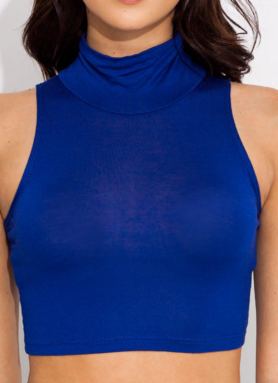 Turtle Neck Crop Top COBALT