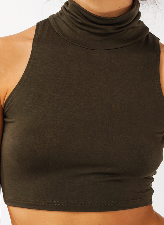 Turtle Neck Crop Top OLIVE
