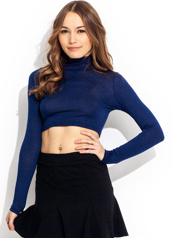 Turtleneck Crop Top NAVY