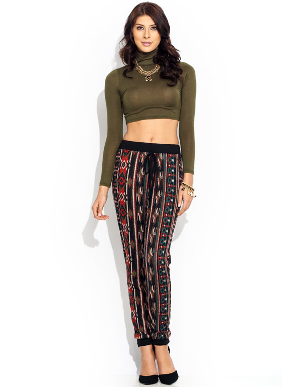 Turtleneck Crop Top OLIVE