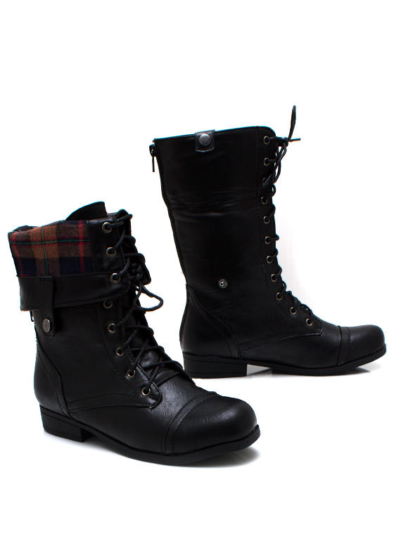 Lace Up Leather Combat Boots BLACK