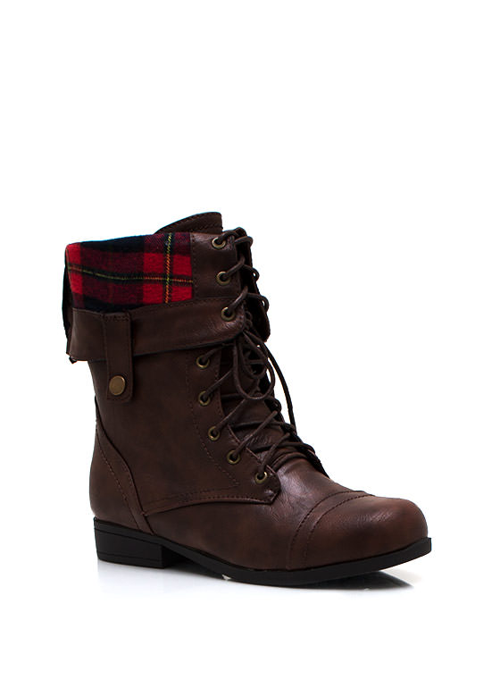 Lace Up Leather Combat Boots COGNAC