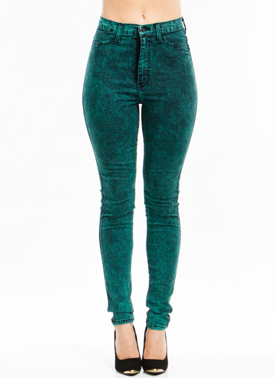 Colored Acid Wash Jeans GREEN