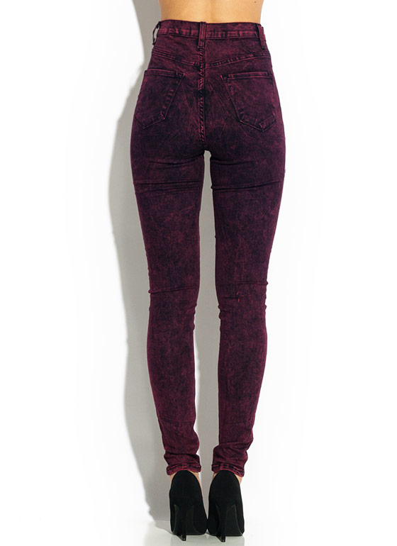 Colored Acid Wash Jeans WINE