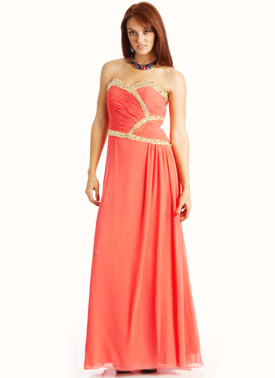 Sequin Embellished Strapless Formal CORAL