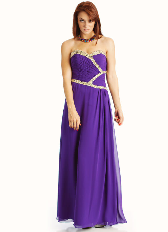 Sequin Embellished Strapless Formal PURPLE