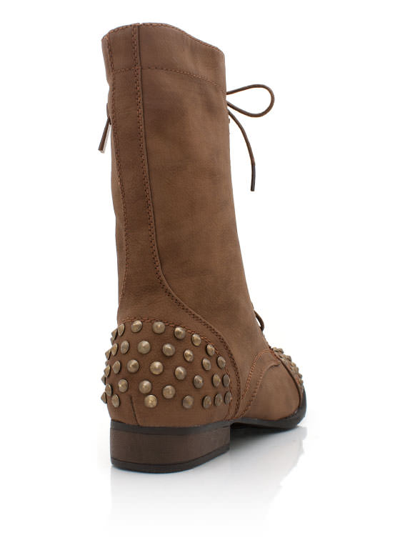 Studded Lace Up Combat Boots CHESTNUT