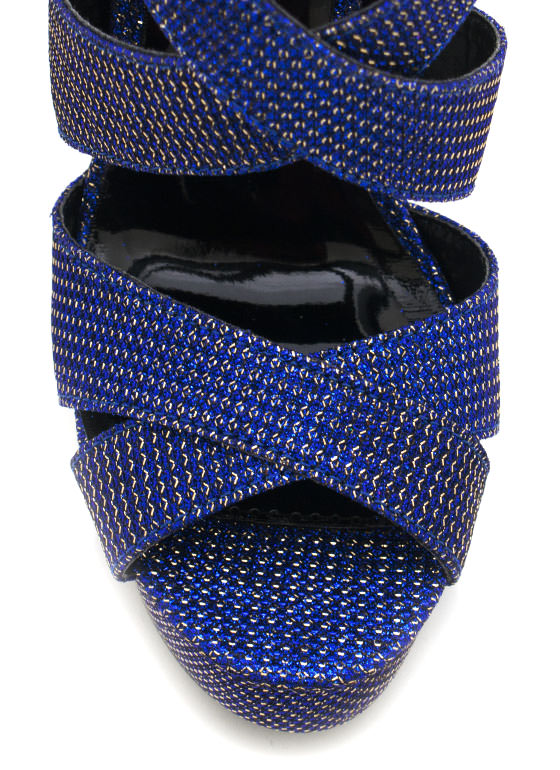 Strappy Glitter Platforms BLUEGOLD