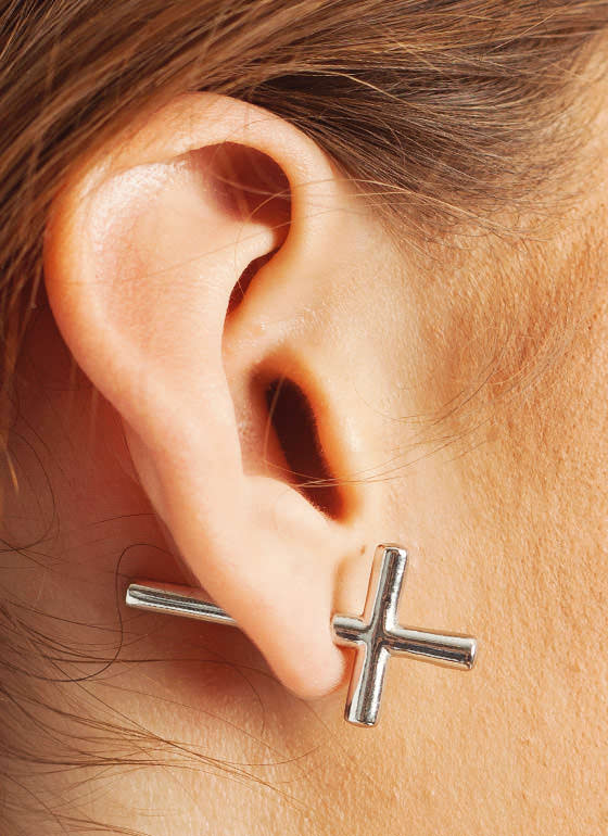 Sideways Cross Earrings SILVER