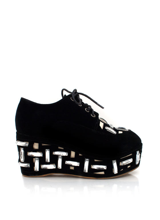 Jewel Embellished Lace Up Platforms BLACK