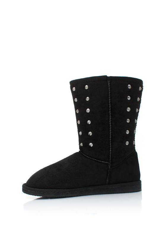 Studded Suede Boots BLACK