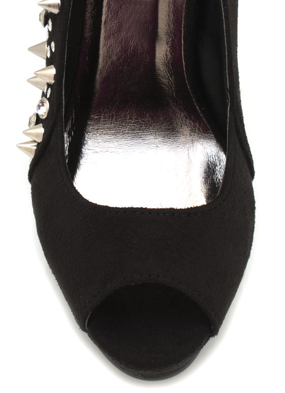 Embellished Suede Peep Toe Pumps BLACK