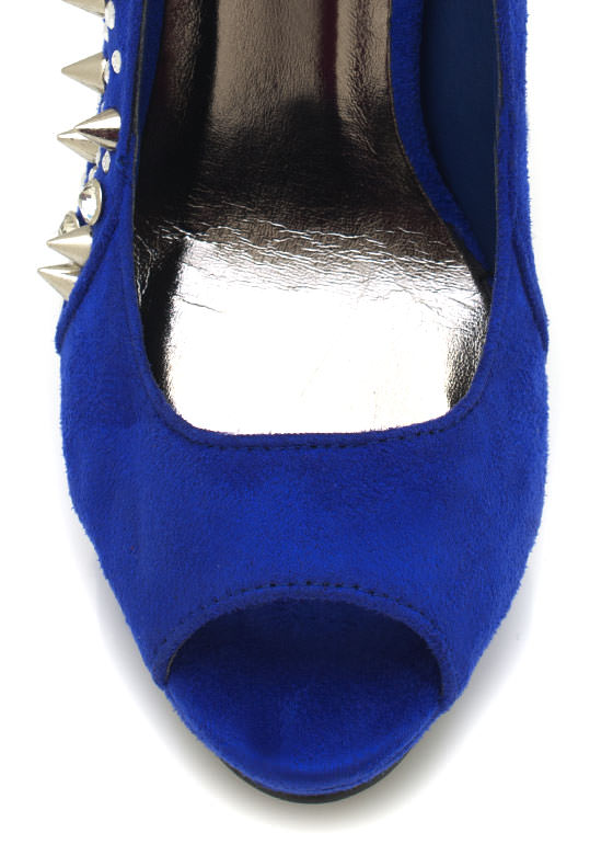Embellished Suede Peep Toe Pumps ROYAL
